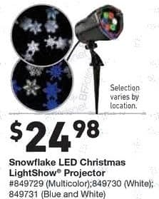 Lowe's Black Friday: Snowflake LED Christmas LightShow Projector for $24.98