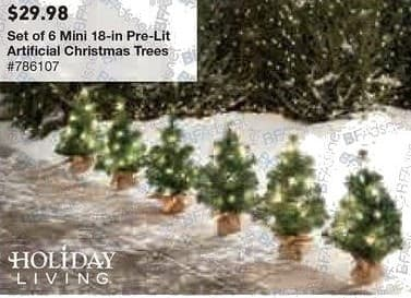 Lowe's Black Friday: 18 in. Mini Pre-Lit Artificial Christmas Trees, Set of Six for $29.98