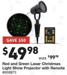 Lowe's Black Friday: Red and Green Laser Christmas Light Show Projector w/Remote for $49.98