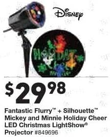 Lowe's Black Friday: Disney Fantastic Flurry + Silhouette Mickey and Minnie Holiday Cheer LED Christmas LightShow Projector for $29.98