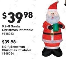 Lowe's Black Friday: 6.9 ft. Santa Christmas Inflatable for $39.98