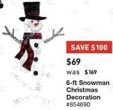 Lowe's Black Friday: 6 ft. Snowman Christmas Decoration for $69.00
