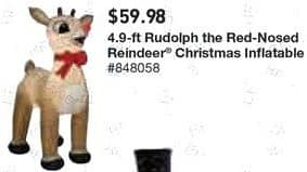 Lowe's Black Friday: 4.9 ft. Rudolph the Red Nosed Reindeer Christmas Inflatable for $59.98