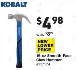 Lowe's Black Friday: Kobalt 16 oz Smooth-Face Claw Hammer for $4.98