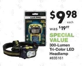 Lowe's Black Friday: 300-Lumen Tri-Color LED Headlamp for $9.98