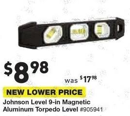 Lowe's Black Friday: Johnson Level 9-in Magnetic Aluminum Torpedo Level for $8.98