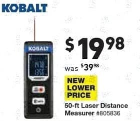 Lowe's Black Friday: Kobalt 50 ft. Laser Distance Measurer for $19.98