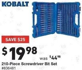Lowe's Black Friday: Kobalt 210-Piece Screwdriver Bit Set for $19.98