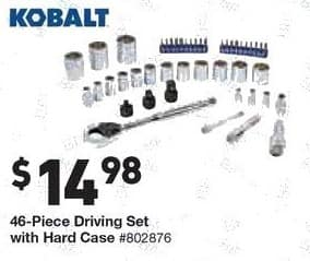 Lowe's Black Friday: Kobalt 46-Piece Driving Set w/Hard Case for $14.98