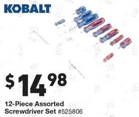 Lowe's Black Friday: Kobalt 12-Piece Assorted Screwdriver Set for $14.98