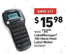 Lowe's Black Friday: LabelManager 160 Hand-Held Label Maker for $15.98