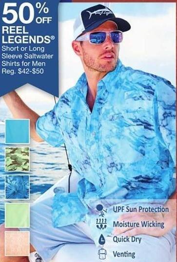 Bealls Florida Black Friday: Reel Legends Men's Short or Long Sleeve Saltwater Shirts - 50% Off