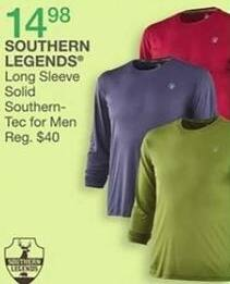 Bealls Florida Black Friday: Southern Legends Men's Long Sleeve Solid Southern-Tec for $14.98