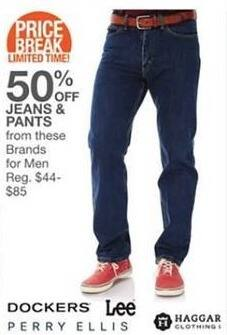 Bealls Florida Black Friday: Select Men's Jeans and Pants: Dockers, Lee, Perry Ellis and More - 50% Off