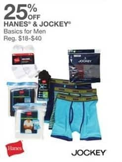Bealls Florida Black Friday: Select Basics for Men: Hanes and Jockey - 25% Off