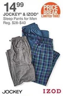 Bealls Florida Black Friday: Select Men's Sleep Pants from Jockey or Izod for $14.99