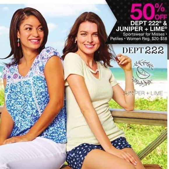 Bealls Florida Black Friday: Select Misses, Petites and Women's Sportswear from Dept 222 or Juniper + Lime - 50% Off