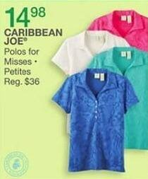 Bealls Florida Black Friday: Select Caribbean Joe Misses and Petites Polos for $14.98