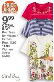 Bealls Florida Black Friday: Coral Bay Women's Knit Tees for $11.99