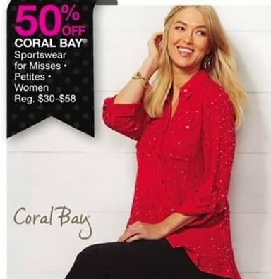 Bealls Florida Black Friday: Coral Bay Misses Sportswear - 50% Off
