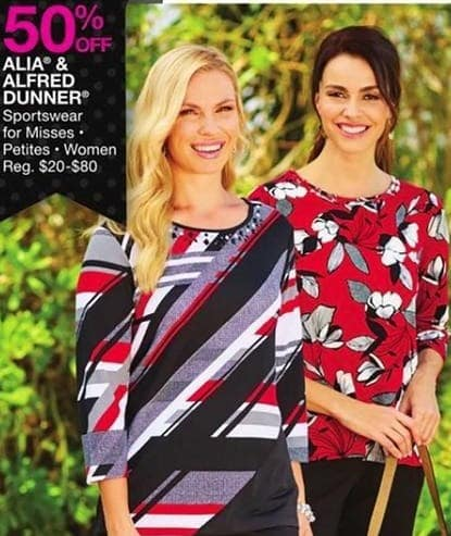 Bealls Florida Black Friday: Select Petite and Women's Sportswear from Alia and Alfred Dunner - 50% Off