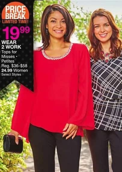 Bealls Florida Black Friday: Select Styles Wear 2 Work: Tops for Misses and Petites for $19.99