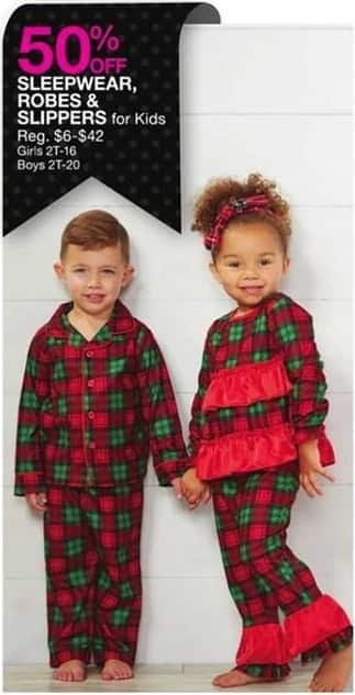 Bealls Florida Black Friday: Kids Sleepwear, Robes and Slippers - 50% Off