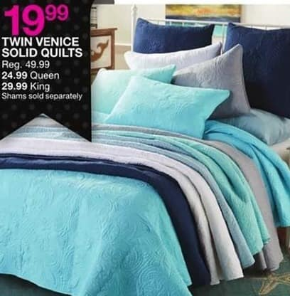 Bealls Florida Black Friday: Venice Solid Quilts: Twin, Queen and King for $19.99 - $29.99