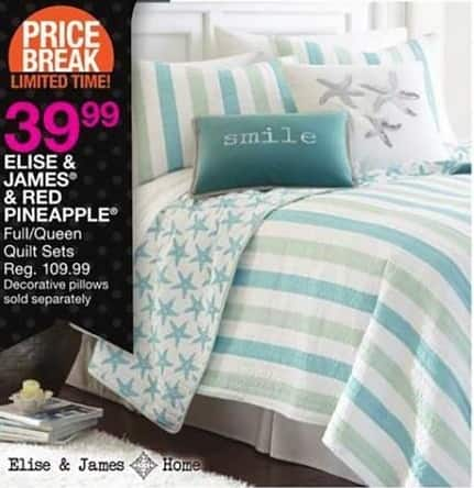Bealls Florida Black Friday: Elise & James or Red Pineapple Quilt Sets in Full/Queen for $39.99