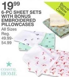Bealls Florida Black Friday: Coastal Home 6-Piece Sheet Sets w/Bonus Embroidered Pillowcases for $19.99