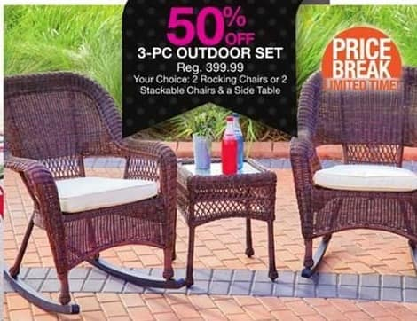 Bealls Florida Black Friday: 3-Pc Outdoor Set: Includes 2 Rocking Chairs or 2 Stackable Chairs and Side Table - 50% Off