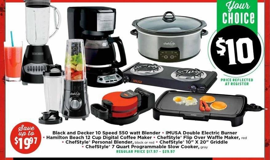 H-E-B Black Friday: Select Small Appliances: ChefStyle Griddle, Slow Cooker, Personal Blender, Waffle Maker, Griddle and More for $10.00