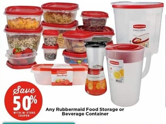 H-E-B Black Friday: Entire Stock Rubbermaid Food Storage or Beverage Container w/Coupon - 50% Off
