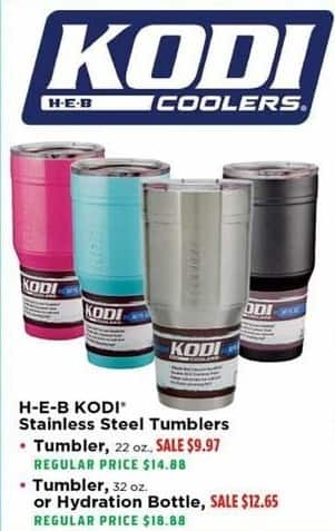 H-E-B Black Friday: H-E-B KODI 22 oz. Stainless Steel Tumblers for $9.97