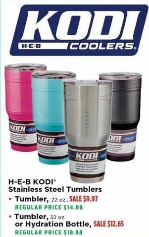 H-E-B Black Friday: H-E-B KODI 32 oz. Stainless Steel Tumbler or Hydration Bottle for $12.65