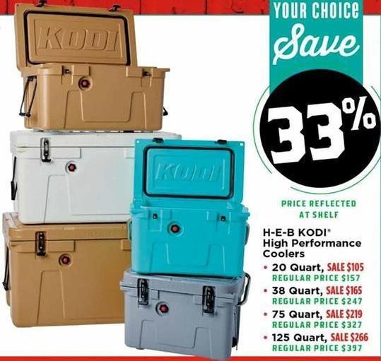 H-E-B Black Friday: H-E-B KODI 20 Quart High Performance Cooler for $105.00