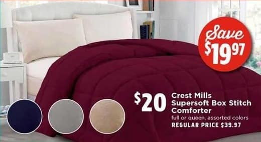 H-E-B Black Friday: Crest Mills Full or Queen Size Supersoft Box Stitch Comforter for $20.00