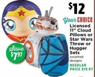 "H-E-B Black Friday: Select Kids' Bedding: 11"" Cloud Pillows, Star Wars Throw or Hugger Sets for $12.00"