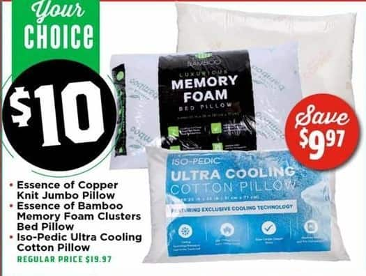 H-E-B Black Friday: Select Pillows: Essence of Copper, Essence of Bamboo or Iso-Pedic Ultra Cooling Pillow for $10.00