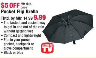 Boscov's Black Friday: Pocket Flip Brella Umbrella for $9.99