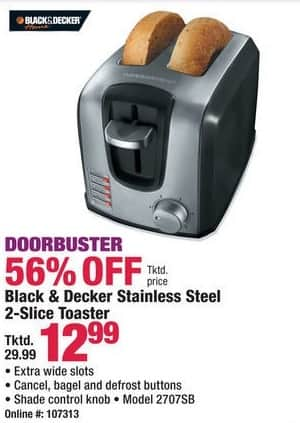 Boscov's Black Friday: Black & Decker 2707SB Stainless Steel 2-Slice Toaster for $12.99