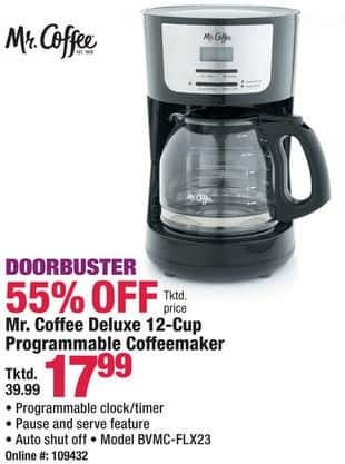 Boscov's Black Friday: Mr. Coffee BVMC-FLX23 Deluxe 12-Cup Programmable Coffeemaker for $17.99