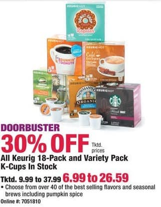 Boscov's Black Friday: Entire Stock Keurig 18-Pack or Variety Pack K-Cups for $6.99 - $26.59