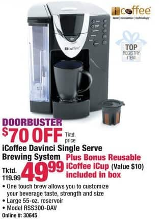 Boscov's Black Friday: iCoffee Davinci RSS300-DAV Single Serve Brewing System + Reusable iCoffee iCup for $49.99