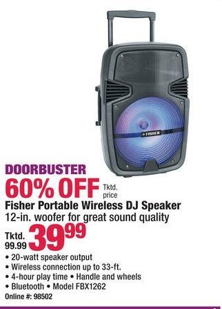 Boscov's Black Friday: Fisher FBX1262 Portable Wireless DJ Speaker for $39.99