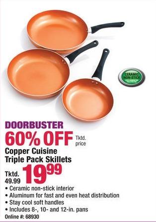 Boscov's Black Friday: Copper Cuisine Triple Pack Skillets for $19.99