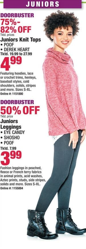 Boscov's Black Friday: Juniors Leggings from Eye Candy, Shosho and Poof for $3.99
