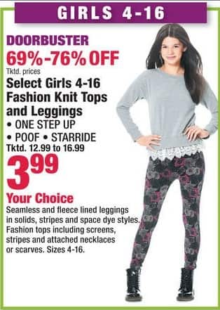 Boscov's Black Friday: Select Girls 4-16 Fashion Knit Tops and Leggings from One Step Up, Poof and Starride for $3.99