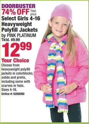 Boscov's Black Friday: Select Girls 4-16 Heavyweight Polyfill Jackets from Pink Platinum for $12.99