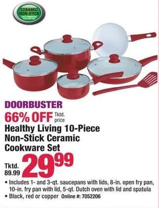 Boscov's Black Friday: Healthy Living 10-Piece Non-Stick Ceramic Cookware Set for $29.99